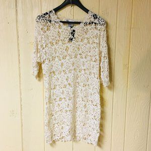 NEW Diane Gilman HSN PLUS Crochet Lace DRESS Silk